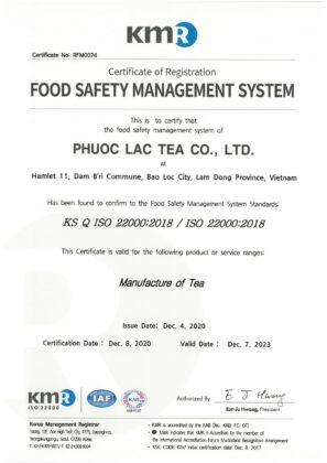 ISO 22000 Tra Phuoc Lac
